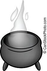 cartoon pot - nice gray cartoon pot isolated over white...