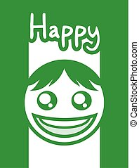 nice green happy face design