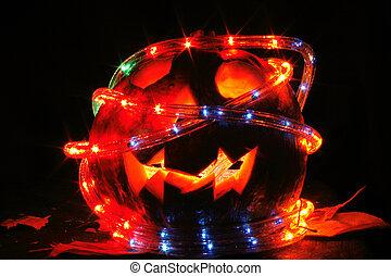 halloween pumpkin in the dark night