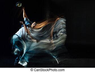 Nice handsome man dancing