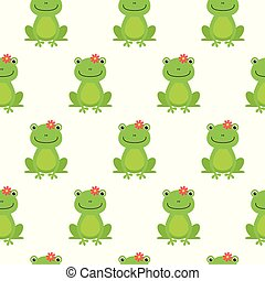 Nice happy cartoon seamless vector pattern with frogs and flowers