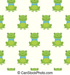 Nice happy cartoon seamless vector pattern with frogs With Bow Tie