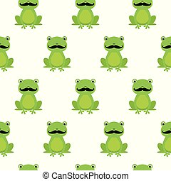Nice happy cartoon seamless vector pattern with frogs with mustache
