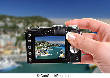 Nice harbour - Taking a photograph of the harbor in Nice,...