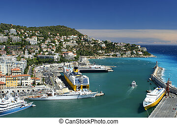 Nice harbour - Lighthouse and harbor in Nice, France