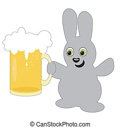 nice hare with beer mug on white