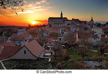 Nice historical castle in the czech republic in sunset -...