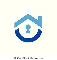 Nice Home Security Icon, Vector Logo