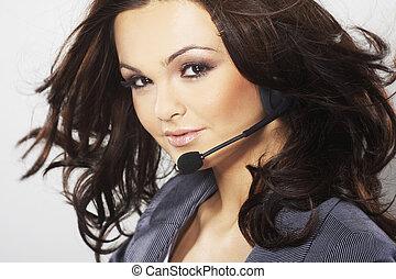 Nice hotline operator with headset