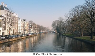 Nice Houses Facing Park And Canal - Long row of houses in...