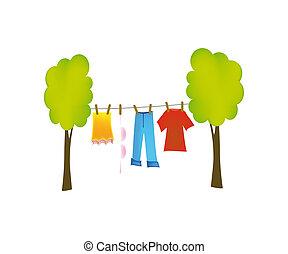 dry washing - nice illustration of dry washing isolated on...
