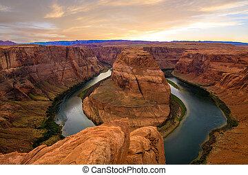 Amazing Sunset Vista of Horseshoe Bend in Page, Arizona