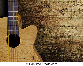 Nice interesting guitar on the grunge background