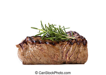 Filet Mignon - Nice juicy flamegrilled Filet Mignon isolated...
