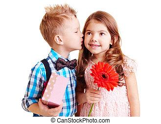 Nice kiss - Little boy kissing hi girlfriend