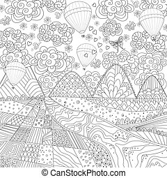 nice landscape with hot air balloons in the sky for your colorin