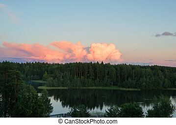 Nice landscape with sunset on lake