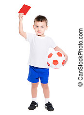 Nice little boy shows a red card. Isolated on white