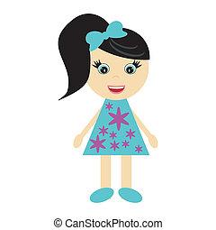 nice little girl on white background vector