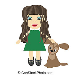 nice little girl with dog