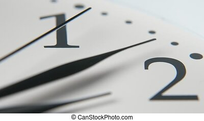 Marvelous bokeh closeup of a retro white clock face placed aslant with three arrow-shaped black arrows going, clicking and pointing at eight minutes past two.
