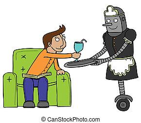nice maid robot - Represent a maid robot serving her boss....