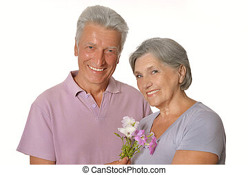 man and a woman standing on white background