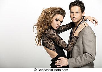 Nice man wearing suit and his blonde girlfriend - Nice guy...