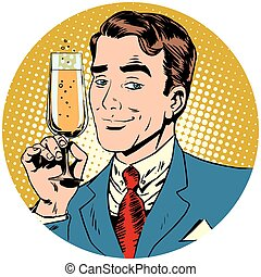 nice man with a glass of sparkling wine