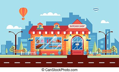 Nice meat shop - Stock vector illustration city street with...