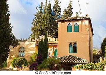 Nice neo-Mudejar-looking building in Granada's lovely Albaiz?n neighborhood on a sunny day
