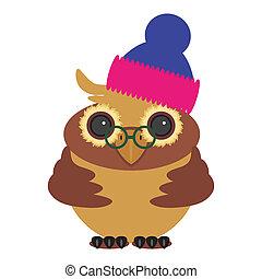 nice owl in cap on white