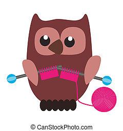 nice owl knitting on white background