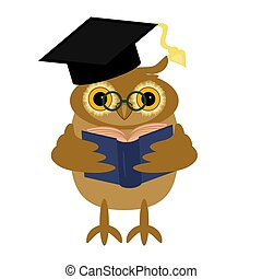 nice owl with book on white