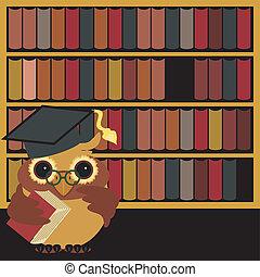 nice owl with books