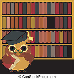nice owl with books