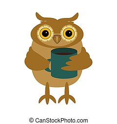 nice owl with cup of coffee