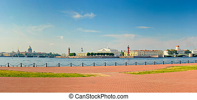 Nice panoramic view of the Spit of Vasilievsky Island, St. Petersburg