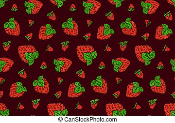 Nice pattern with strawberry on purple background