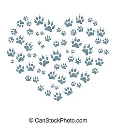 Nice picture of animal tracks arranged in a heart shape on a white background.