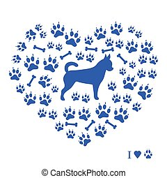 Nice picture of chihuahua silhouette on a background of dog track in the form of heart on a white background.
