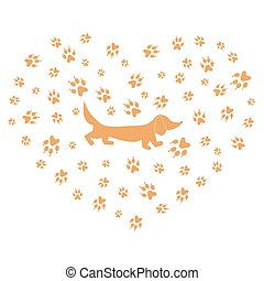 Nice picture of dachshund silhouette on a background of dog tracks in the form of heart on a white background.