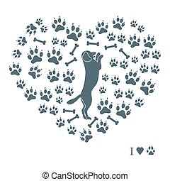 Nice picture of dog standing on its hind legs silhouette on a background of dog tracks and bones in the form of heart on a white background.