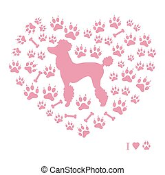 Nice picture of poodle silhouette on a background of dog tracks and bones in the form of heart.