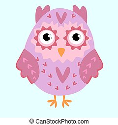 Nice pink owl with ears and hearts