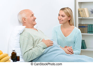 Nice pleasant conversation of two relatives at hospital. -...