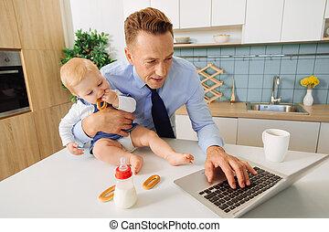Nice pleasant man pressing a button