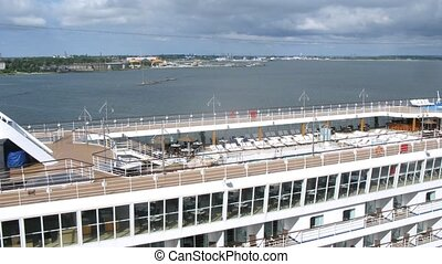 Nice pool on top deck of cruise liner, time lapse - Nice...