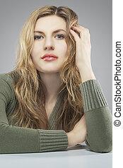 portrait of young blond caucasian woman