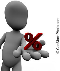 Toon like figure with percent sign in hand which signals a special sales offer